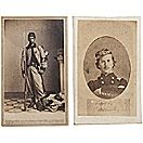 CDV's of Francis Brownell (left) and Colonel Elmer Ellsworth. After Pres. Lincoln spotted a large Confederate flag flying over nearby Alexandria just days after Virginia's secession, Ellsworth & his Zouaves marched to take it down. In so doing, the Innkeeper, shot and killed Ellsworth. Brownell, promptly avenged his leader's death by killing the Innkeeper. He was awarded the Medal of Honor in so doing. Note the flag under Brownell's feet in photo.