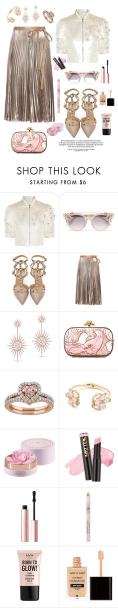 """Pink Powder"" by aasrmiruna ❤ liked on Polyvore featuring Reem Acra, Jimmy Choo, Valentino, Anne Sisteron, Bottega Veneta, Kate Spade, Lancôme, L.A. Girl, Too Faced Cosmetics and NYX"