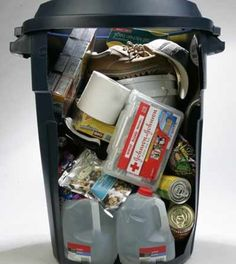 Trash Can Emergency Survival Kit List | Try this emergency survival kit list and tips. #SurvivalLife www.SurvivalLife.com