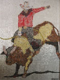 """Red Rider,"" a recycled art portrait made from hand-cut tiles cut from aluminum cans, by Jeff Ivanhoe."