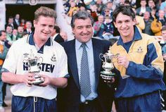 Gascoigne and Lineker's last ever home match. Presented with miniature fa cups as a memento.