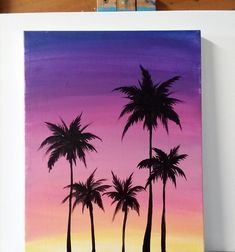 11 x 14 inch acrylic painting on canvas. Bright colors make this tropical painting pack a punch for small space decorati Canvas Painting Designs, Small Canvas Paintings, Easy Canvas Art, Small Canvas Art, Mini Canvas Art, Cute Paintings, Simple Acrylic Paintings, Acrylic Painting Canvas, Sunset Painting Easy