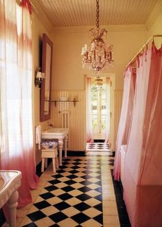 large pink bathroom traditional bathroom black and white floor, pink accents. Pink Shower Curtains, Pink Curtains, Vintage Curtains, Bathroom Curtains, Alexa Chung, Floor Design, House Design, Baños Shabby Chic, French Bathroom