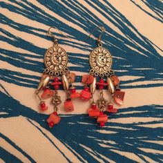 Silver & Coral Earrings Silver & Coral Dangling Earrings Jewelry Earrings