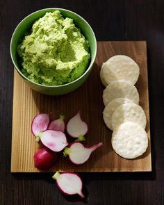 Edamame Spread | Martha Stewart Living - This garlicky spread is delicious on crackers.