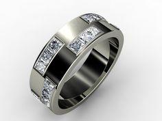 Gents Diamond Brick Wedding Band #customjewelry #imagesjewelers #weddingring #mensring