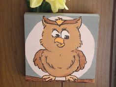 Painted Owl Plaque by MumkenzGiftShop on Etsy