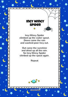 Children will love to sing and dance along with Incy Wincy Spider a Popular Kids Nursery Rhyme Song! Kids Video Songs, Rhymes Video, Songs For Toddlers, Children Songs, Nursery Rhymes Lyrics, Old Nursery Rhymes, Nursery Rhymes Songs, Kindergarten Songs, Preschool Songs