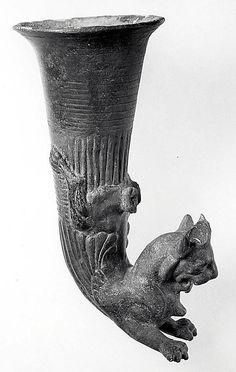 Rhyton terminating in a horned lion, late Achaemenid–early Seleucid,: ca. 4th–3rd century BCE, Anatolia