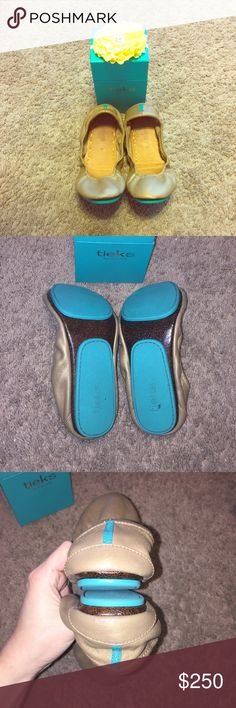 Make me an offer! :) Tieks 8 I love these- they're soooo cozy! They come with a little black pouch to carry them in for on the go and the original box with flower. I had this strange obsession with gold last year, even though I never wear gold. Yeah, I never wear gold. I don't know what I was thinking. Ha! Anyway, wore them once (there's very VERY light scuffing that you can hardly see), then got my usual silver ones back out. Make me a REASONABLE offer (they're barely used)! :) Tieks Shoes…