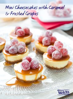 Perfect Holiday dessert that you can make ahead of time! Mini cheesecakes with sparkling caramel sauce & frosted grapes