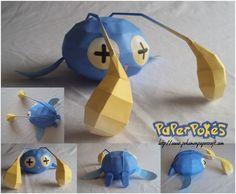 Easy Pokemon Papercraft   170 / CHINCHOU - Pokémon Papercraft Easy Pokemon, Pokemon Craft, Pokemon Party, Easy Crafts For Kids, Diy And Crafts, Arts And Crafts, Paper Crafts, Origami, Stuff To Do