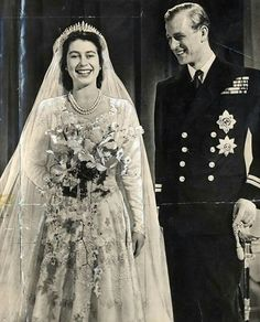 How the Queen lost her heart slow dancing to a show tune from Oklahoma! England ~ Princess Elizabeth & Phillip [later Queen Elizabeth II & Prince Philip] at their wedding, November 1947