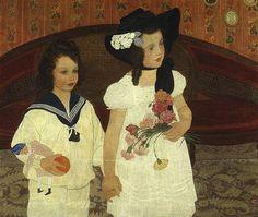 Art of Ernest Bieler Swiss Painter - Two Girls Art And Illustration, Art Nouveau, Blog Art, Ernest, Two Girls, Belle Epoque, Figure Painting, Contemporary Artists, Canvas