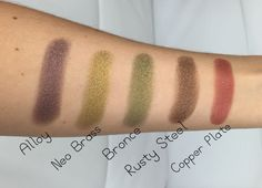 Zoeva Mixed Metals Eyeshadow Palette Swatches Top row, Alloy, Neo Brass, Bronce, Rusty Steel & Copper Plate