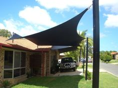 Cool Shade Sails by All Shade Solutions – Perfect To Create Shade in Your Courtyard : Shade Sails For Courtyard With Window Brick Walls Floor Car Garage And Courtyard Design Carport Designs, Pergola Designs, Pergola Kits, Carport Ideas, Pergola Ideas, Outdoor Ideas, Courtyard Design, Courtyard House, Pergola On The Roof