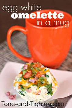 Egg White Omelette . . . IN A MUG! Ready in less than 5 minutes! #breakfast