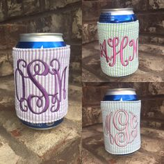 Monogrammed Seersucker Can Koozie at Mayfair Monogram on Etsy!