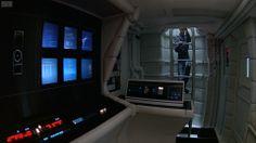 Omgeving binnenin een ruimtestation of schip. afbeelding afkomstig uit de film 2001: a Space Odyssey.
