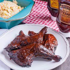 Smoked Chicken Leg Quarters with Heinz BBQ Texas Bold