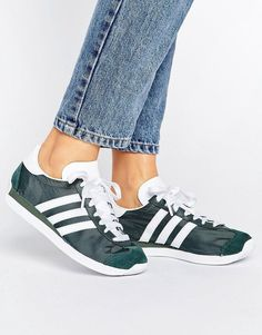 Buy Green Adidas Basic sneakers for woman at best price. Compare Sneakers prices from online stores like Asos - Wossel Global Green Trainers, Green Sneakers, New Sneakers, Green Shoes, High Top Sneakers, Adidas Country, Athletic, Latest Fashion Clothes, Fashion Online