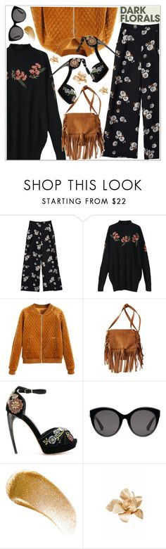"""""""Winter Prints: Dark Florals"""" by teoecar ❤ liked on Polyvore featuring American Eagle Outfitters, Alexander McQueen, Gucci, BBrowBar, Esme Vie and darkflorals"""