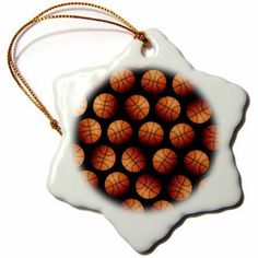 3dRose Wallpaper Pattern made entirely from Basketballs, Snowflake Ornament, Porcelain, 3-inch