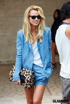 summer short suit + leopard clutch