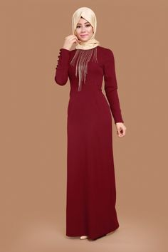 Y.G.S - Kolyeli Kalem Abiye Elbise YGS5073 Bordo (1) The Dress, High Neck Dress, Hijab Outfit, Modest Outfits, African Fashion, Evening Dresses, Formal, Modest Apparel, Gowns