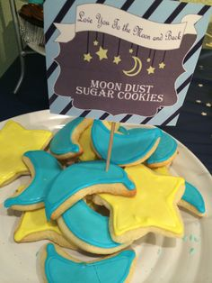 """""""Moon dust star cookies"""" love you to the moon and back baby shower theme."""