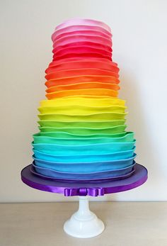 Rainbow Ruffle Wedding Cake. Beautiful Wedding Cakes made to order in Swansea and South Wales. Custom made design to your specific needs. Looking elegant and tasting delicious. Please contact me with any questions or to arrange a consultation.