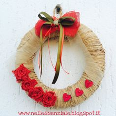 Raffia Garland with red roses by MyCreativeMarket on Etsy