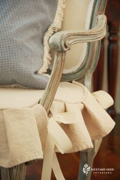 Inspiration: Seat covers for the dining room...and what a beautiful color on that chair!