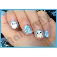 Hand painted penguin nails    http://www.nailstruly.com/nails/cutesy/penguin-nails