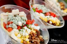 These cob salads in martini glasses are the perfect cocktail hour snack #Disney #wedding #food #salad