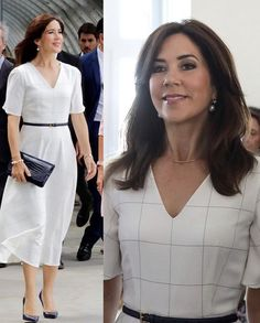 In the evening, The Crown Princess attended a dinner hosted by Paris Ambassador of Denmark Michael Starbæk Christensen. Color Coordinated Closet, Princess Marie Of Denmark, Danish Royalty, Danish Royal Family, Royal Dresses, Daily Dress, Crown Princess Mary, Royal House, Duchess Of Cambridge