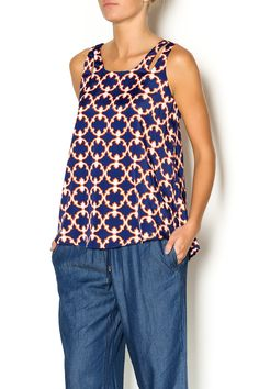 We love the print on this top and the fit looks great too! Shoulder slits add to it's stylish look. We love this with denim for a year round look.   Medallion Print Top by Karlie. Clothing - Tops - Sleeveless Clothing - Tops - Blouses & Shirts Nebraska