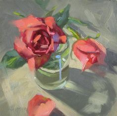 """Daily Paintworks - """"Roses 6x6 oil"""" by Claudia Hammer"""