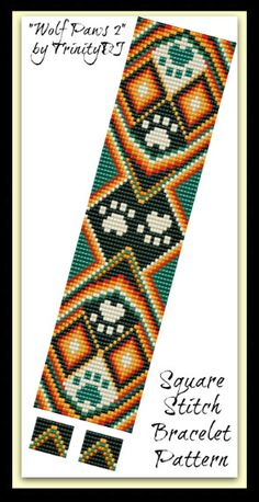 BP-AN-056 - 2015 - 45 - Wolf Paws 2 - Square Stitch Bracelet Pattern - In The Raw - one of a kind Ethnic tutorial