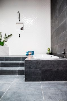 Top Five Ideas from The Block Glasshouse Bathrooms > Beaumont Tiles Bathroom Renos, Laundry In Bathroom, Bathroom Renovations, Bathrooms, Bathroom Stuff, The Block Glasshouse, Beaumont Tiles, Herringbone Wall, Little White House