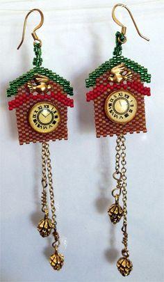 Cuckoo Clock Earrings by beadedbear on Etsy, $85.00
