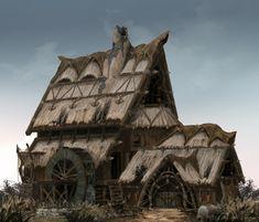 3 by fang chuan on ArtStation. Fantasy Town, Fantasy House, Fantasy Map, High Fantasy, Fantasy Warrior, Environment Concept Art, Environment Design, Larp, Viking House