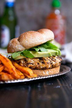 vegan curry sweet potato wild rice burgers made with chickpeas #vegan #recipe