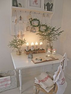 Little white writing desk decked out for Christmas.