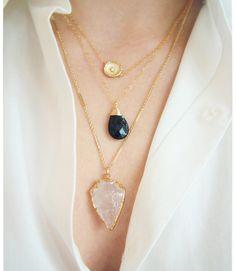 Gold Arrowhead Necklace Crystal Quartz by CateKatan on Etsy www.etsy.com/shop/catekatan