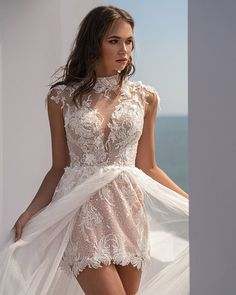 27 Amazing Short Wedding Dresses For Petite Brides ❤ short wedding dresses lace sexy with overskirt illusion nekline beach perfioni #weddingforward #wedding #bride #weddingoutfit #bridaloutfit #weddinggown