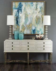 The Chic Technique: Foyer decor - Nadia Console Hooker Entryway Decor, Wall Decor, Foyer Table Decor, Sideboard Decor, Entryway Console, Wall Art, Table Lamps, Credenza, Entrance Decor