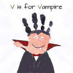 Halloween Vampire Handprint / Mommy Minutes: ABC Handprint Art Part 5 Art Halloween, Halloween Crafts For Kids, Halloween Activities, Halloween Projects, Halloween Themes, Halloween Costumes, Halloween Vampire, Kids Crafts, Daycare Crafts