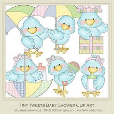 Tiny Tweets Baby Shower Clipart by Cheryl Seslar