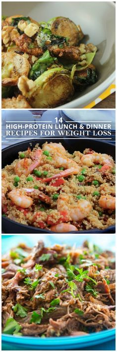 High-Protein Lunch and Dinner Recipes for Weight Loss These recipes will keep you fuller longer. 14 High Protein Lunch & Dinner Recipes for Weight Loss!These recipes will keep you fuller longer. 14 High Protein Lunch & Dinner Recipes for Weight Loss! Pastas Recipes, Diet Recipes, Cooking Recipes, Healthy Recipes, Locarb Recipes, Quick Recipes, Diabetic Recipes, Salad Recipes, Recipes Dinner